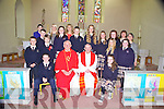 Students from Knocknagoshal who received their Confirmation last Monday afternoon in Knocknagoshal. F l-r: Darren Horan, Fr Riordan, Canon Mangan, Sarah Cusack. M l-r: John Walsh, Christopher Collins, Adam Fallon, Sarah Delany, Gavin O'Connor, Tessa Collins, Meghan Collins, Amy Duncan, Jackie Kay Walsh, Niamh O'Shea. B l-r: Staff members Margeruite Cahill, Suzanne Sheehy, Maire Collins, Carmel O'Connell and Patricia Cusack.