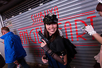 A woman dressed as a sexy police officer during the Halloween celebrations Shibuya, Tokyo, Japan. Saturday October 27th 2018. The celebrations marking this event have grown in popularity in Japan recently. Enjoyed mostly by young adults who like to dress up, drink , dance and misbehave in parts of Tokyo like Shibuya and Roppongi. There has been a push back from Japanese society and the police to try to limit the bad behaviour.