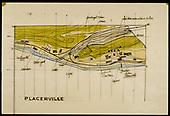 Dorman's model train layout - Placerville map.<br /> RGS