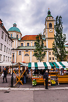 Ljubljana Central Market and the Cathedral of St Nicholas, Slovenia, Europe