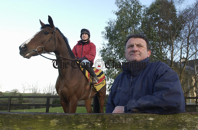 Ascot Here We Come.......Donal Hassett about to set off for the big race at Ascot in England this week with his stable star Native Scout. Our picture shows  Louise Monks from Feakle on board the Noel Glynn owned gelding. Photograph by John Kelly.