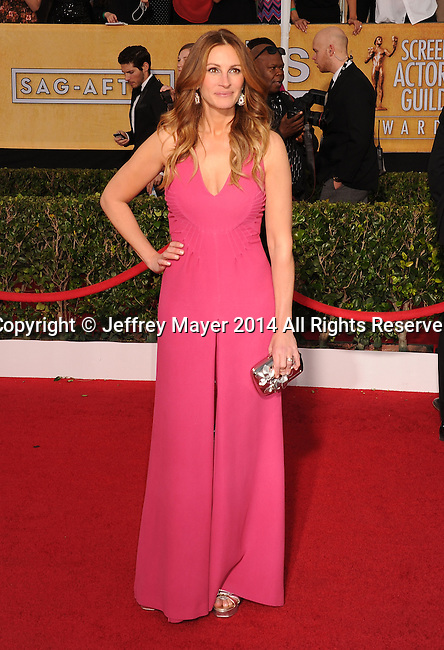 LOS ANGELES, CA- JANUARY 18: Actress Julia Roberts arrives at the 20th Annual Screen Actors Guild Awards at The Shrine Auditorium on January 18, 2014 in Los Angeles, California.
