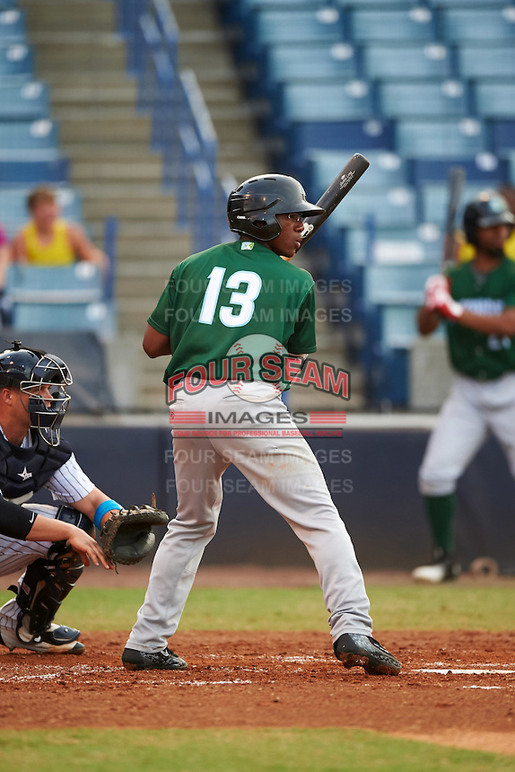 Daytona Tortugas second baseman Shed Long (13) at bat during a game against the Tampa Yankees on August 5, 2016 at George M. Steinbrenner Field in Tampa, Florida.  Tampa defeated Daytona 7-1.  (Mike Janes/Four Seam Images)