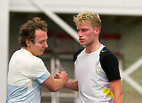 Januari 24, 2015, Rotterdam, ABNAMRO, Supermatch, Maarten Witte  is congratulated by Diwon de Haan (R)<br /> Photo: Tennisimages/Henk Koster