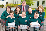 Killorglin Community College students who was honoured at the schools annual awards ceremony in the school on Wednesday evening front row l-r: Johnaton Ireland, Shane O'Riordan, Shane Clifford. Back row: Marguerite Griffin, Adrienne Brosnan, Con Moynihan Principal, Edel O'Shea and Keri O'Connor