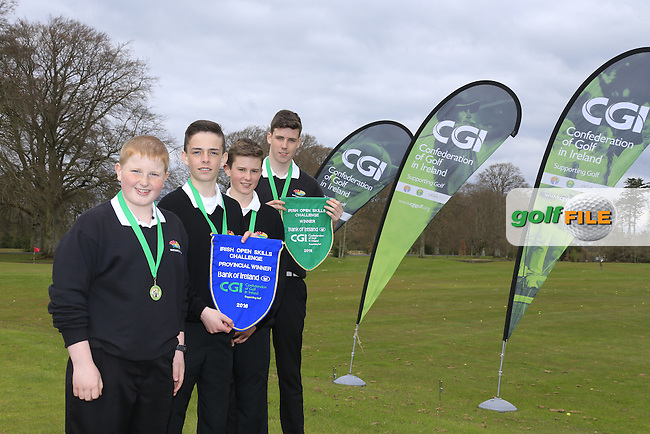 Enniscrone Golf Club members Tony Conlon, Connor Ruddy, Cormac Feeney and Odhran Colonna national winners of the national finals of the Dubai Duty Free Irish Open Skills Challenge supported by Bank of Ireland in conjunction with CGI at the GUI National Golf Academy, Carton House, Maynooth, Co Kildare. 24/04/2016.<br /> Picture: Golffile   Fran Caffrey<br /> <br /> <br /> All photo usage must carry mandatory copyright credit (&copy; Golffile   Fran Caffrey)