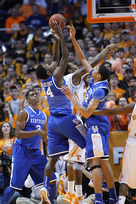 UK freshman forward Terrence Jones gets a rebound during the first half of UK's game against Tennessee at Thompson-Boling Arena in Knoxville, Tenn., Jan. 14, 2012.Photo by Brandon Goodwin | Staff