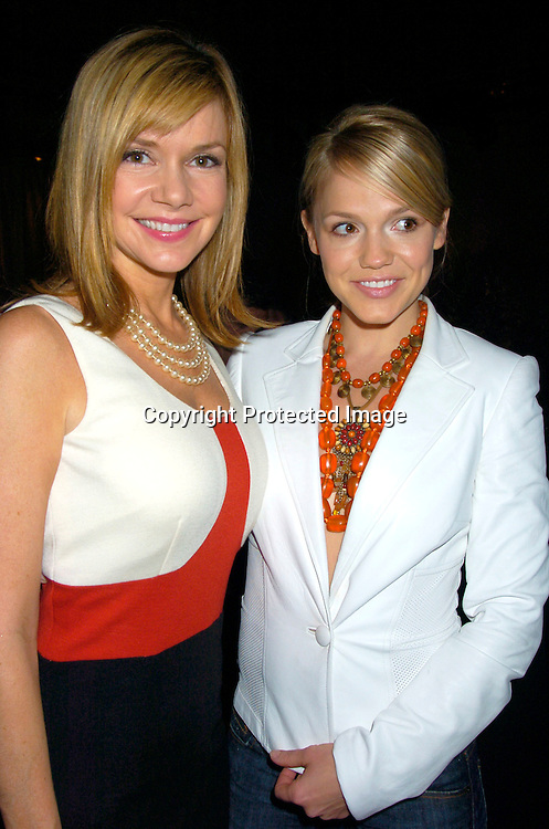 Bobbie Eakes in David Rodriguez dress and Alexa Havins..at the David Rodriguez Spring 2005  Fashion Show on ..September 11, 2004 at MAO Space at the Altman Building...Photo by Robin Platzer, Twin Images