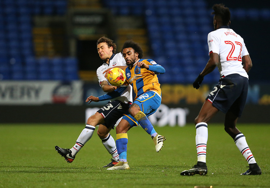 Shrewsbury Town's Junior Brown shields the ball from Bolton Wanderers' Lawrie Wilson<br /> <br /> Photographer Stephen White/CameraSport<br /> <br /> The EFL Sky Bet League One - Bolton Wanderers v Shrewsbury Town - Monday 26th December 2016 - Macron Stadium - Bolton<br /> <br /> World Copyright &copy; 2016 CameraSport. All rights reserved. 43 Linden Ave. Countesthorpe. Leicester. England. LE8 5PG - Tel: +44 (0) 116 277 4147 - admin@camerasport.com - www.camerasport.com