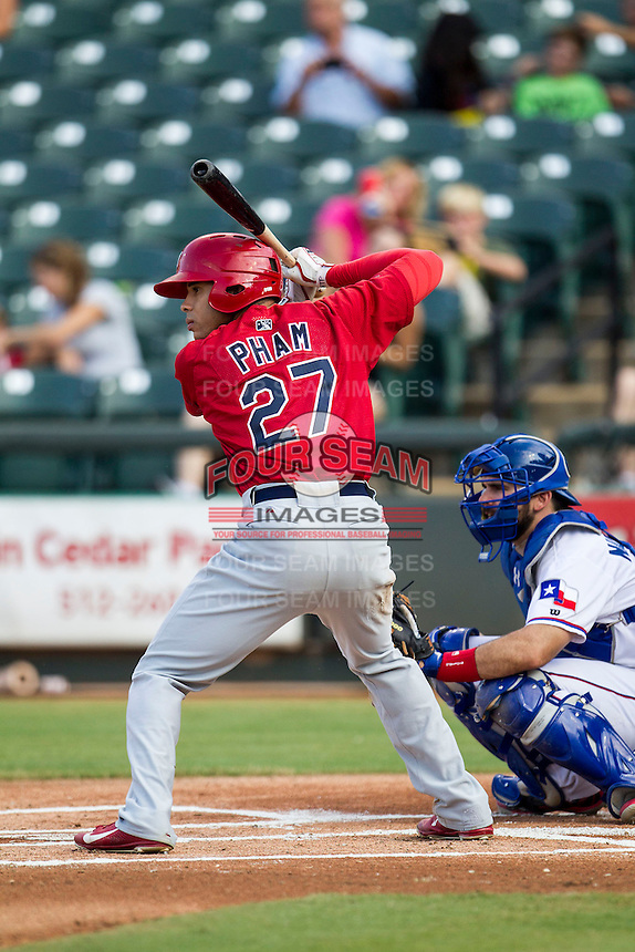 Memphis Redbirds outfielder Thomas Pham (27) AAA during the second game of a Pacific Coast League doubleheader against the Round Rock Express on August 3, 2014 at the Dell Diamond in Round Rock, Texas. The Redbirds defeated the Express 7-6. (Andrew Woolley/Four Seam Images)
