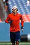 Denver Broncos wide receiver Eric Decker warms up prior to the game against the Seattle Seahaws at Sports Authority Field August 19, 2012 in Denver, CO.  (AP Photo/Margaret Bowles)