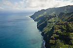 Aerial view of the Na Pali Coast, looking west toward Ke'e Beach, Kauai, Hawaii