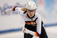 1st February 2019, Dresden, Saxony, Germany; World Short Track Speed Skating; 1000 meters women in the EnergieVerbund Arena. Anna Seidel from Germany on the track.