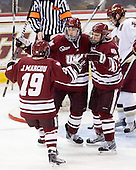 James Marcou (UMass - 19), Casey Wellman (UMass - 7), Michael Lecomte (UMass - 25) - The Boston College Eagles defeated the University of Massachusetts-Amherst Minutemen 5-2 on Saturday, March 13, 2010, at Conte Forum in Chestnut Hill, Massachusetts, to sweep their Hockey East Quarterfinals matchup.