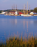Mystic, CT:  View across the Mystic River to the lighthouse and ships at Mystic Seaport