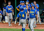 MIDDLETOWN, CT. 06 June 2018-060618BS507 - Seymour's Zack Edwards (4) celebrates with teammate Dan Manente (14) after scoring a run during the CIAC Tournament Class M Semi-Final baseball game between Seymour and St Joseph at Palmer Field on Wednesday evening. Seymour beat St Joseph 8-0 and will play Wolcott for the Class M championship on Saturday. Bill Shettle Republican-American