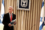 "Bank of Israel Governor Stanley Fischer speaks to the press at the official submission of the Bank of Israel report to Israeli President Shimon Peres at the Presidential Residence in Jerusalem, Sunday, April 19, 2009. Stanley Fischer declared that ""the report says we are dealing with the current crisis relatively well"", although he did stress that he expects the decline to continue and that he believes that the Israeli economy has yet to reach its lowest point. Photo By: Emil Salman / JINI"