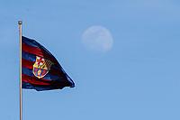 28th March 2018, Mini Estad, Barcelona, Spain; Womens Champions League football, quarter final, 2nd leg, Barcelona Women versus Lyon Women; The moon behind FC Barcelona flag