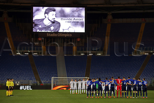 8th March 2018, Stadio Olimpico, Rome, Italy; UEFA Europa League football, round of 16, 1st leg, Lazio versus Dynamo Kyiv; Lazio and Dynamo Kyiv players line up to observe a minute's silence in memory of Fiorentina player Davide Astori who passed away of a sudden illness on Sunday morning