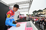 Luxembourg Champion Bob Jungels (LUX) Deceuninck-Quick Step at sign on before Stage 16 of the 2019 Giro d'Italia, running 194km from Lovere to Ponte di Legno, Italy. 28th May 2019<br /> Picture: Massimo Paolone/LaPresse | Cyclefile<br /> <br /> All photos usage must carry mandatory copyright credit (© Cyclefile | Massimo Paolone/LaPresse)