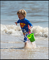 BNPS.co.uk (01202 558833)<br /> Pic: PhilYeomans/BNPS<br /> <br /> Superman Finley Felts(3).<br /> <br /> Sizzling Sunday - Holidaymakers make the most of the first hot weekend of the year on Bmth beach today.