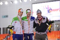 SPEEDSKATING: SOCHI: Adler Arena, 22-03-2013, Essent ISU World Championship Single Distances, Day 2, podium 5000m Men, Jorrit Bergsma (NED), Sven Kramer (NED), Ivan Skobrev (RUS), © Martin de Jong