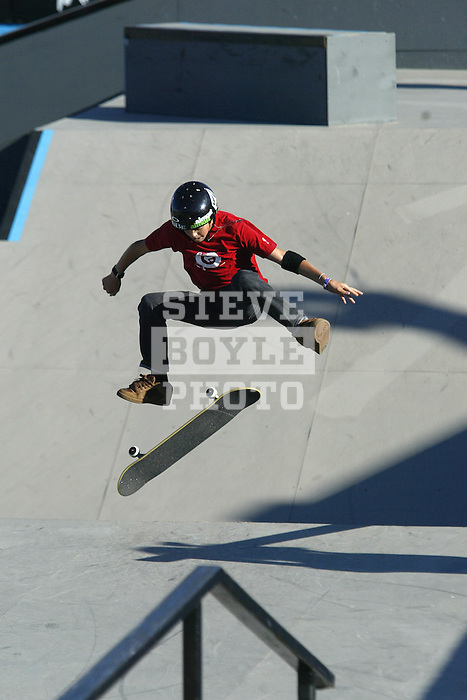 Ryan Sheckler competes in the skateboard street competition at the Gravity Games in Cleveland, Ohio..September 18, 2004.
