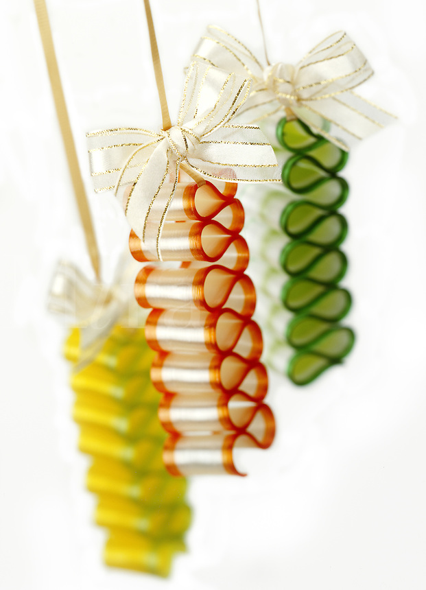 Holiday Candy Ribbons on golden strings with bows