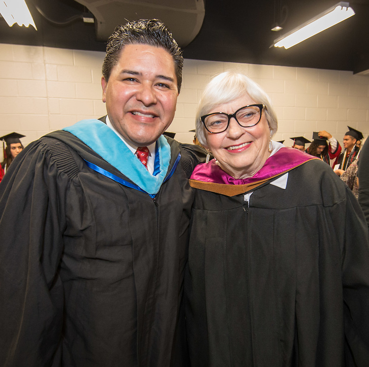 Houston ISD Superintendent Richard Carranza and Bertie Simmons pose for a photograph before the Furr / Reach High School graduation in Delmar Fieldhouse, May 26, 2017. The ceremony was the first graduation to be held in the newly constructed facility.