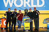 Champion #16: Brett Moffitt, Hattori Racing Enterprises, Toyota Tundra AISIN Group with Lee Williamson and Jack Irving of TRD.