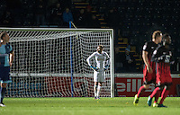 Goalkeeper Scott Brown of Wycombe Wanderers reaction as Coventry's four goal goes in during the The Checkatrade Trophy Southern Group D match between Wycombe Wanderers and Coventry City at Adams Park, High Wycombe, England on 9 November 2016. Photo by Andy Rowland.