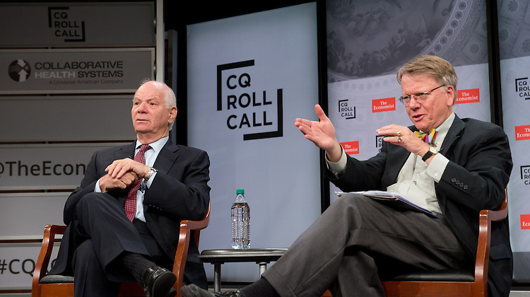 Senator Ben Cardin (D-Md.) and David Hawkings, Senior Editor, Roll Call take questions from the audience during the CQ Roll Call and Collaborative Health Systems policy briefing on the perils and possibilities in coordinated care as envisioned by the Affordable Care Act at the Newseum in Washington, DC on Wednesday, July 8, 2015.  (James R. Brantley)