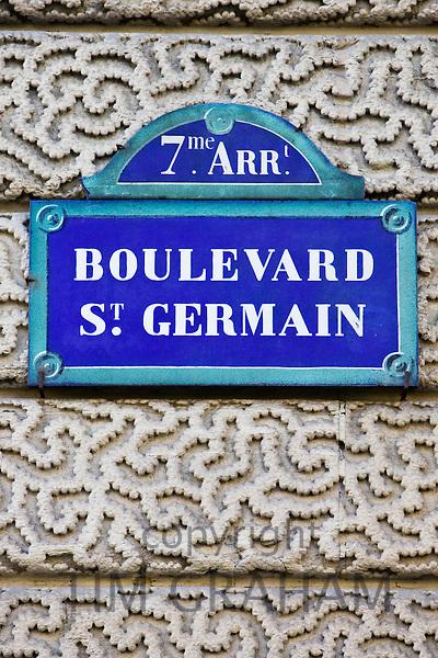 Boulevard St Germain street sign, Paris, France