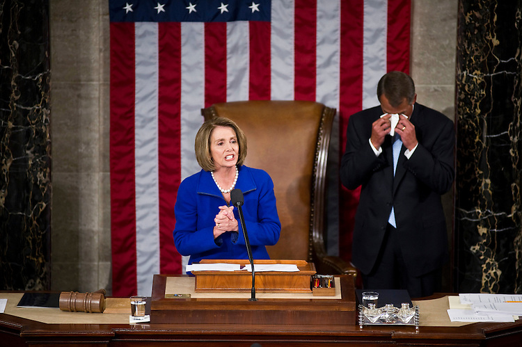 WASHINGTON, DC- Jan. 05: An emotional House Speaker John A. Boehner, R-Ohio, wipes his face before accepting the gavel from outgoing House Speaker Nancy Pelosi, D-Calif., as the 112th Congress convenes at the U.S. Capitol. (Photo by Scott J. Ferrell/Congressional Quarterly)