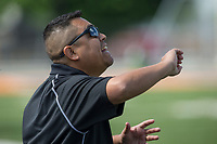 NWA Democrat-Gazette/BEN GOFF @NWABENGOFF<br /> Mauricio Maciel, Fort Smith Northside head coach, shouts to players Saturday, May 12, 2018 during the semifinal match against Springdale in the boys 7A state soccer tournament in Gates Stadium at Rogers Heritage.