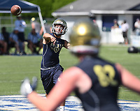 NWA Democrat-Gazette/J.T. WAMPLER Shiloh Christian quarterback Eli Reece makes a pass during the annual Southwest Elite 7-on-7 tournament at Shiloh Christian Saturday July 15, 2017.
