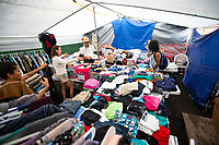 PAHOA, HI - June 2, 2018:  Emergency donations and support center for residents affected around Hawaii's Kilauea Volcano in Pahoa, HI on June 2, 2018. <br /> CAP/MPI/EKP<br /> &copy;EKP/MPI/Capital Pictures