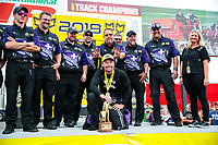 Aug 19, 2018; Brainerd, MN, USA; NHRA funny car driver Jack Beckman celebrates with crew members after winning the Lucas Oil Nationals at Brainerd International Raceway. Mandatory Credit: Mark J. Rebilas-USA TODAY Sports