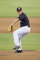 Kannapolis Intimidators relief pitcher Brad Salgado (1) in action against the Delmarva Shorebirds at CMC-NorthEast Stadium on July 2, 2014 in Kannapolis, North Carolina.  The Intimidators defeated the Shorebirds 6-4. (Brian Westerholt/Four Seam Images)