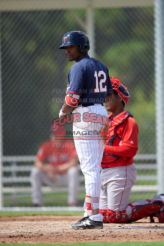 Minnesota Twins Jaylin Davis (12) during an Instructional League game against the Boston Red Sox on September 24, 2016 at CenturyLink Sports Complex in Fort Myers, Florida.  (Mike Janes/Four Seam Images)