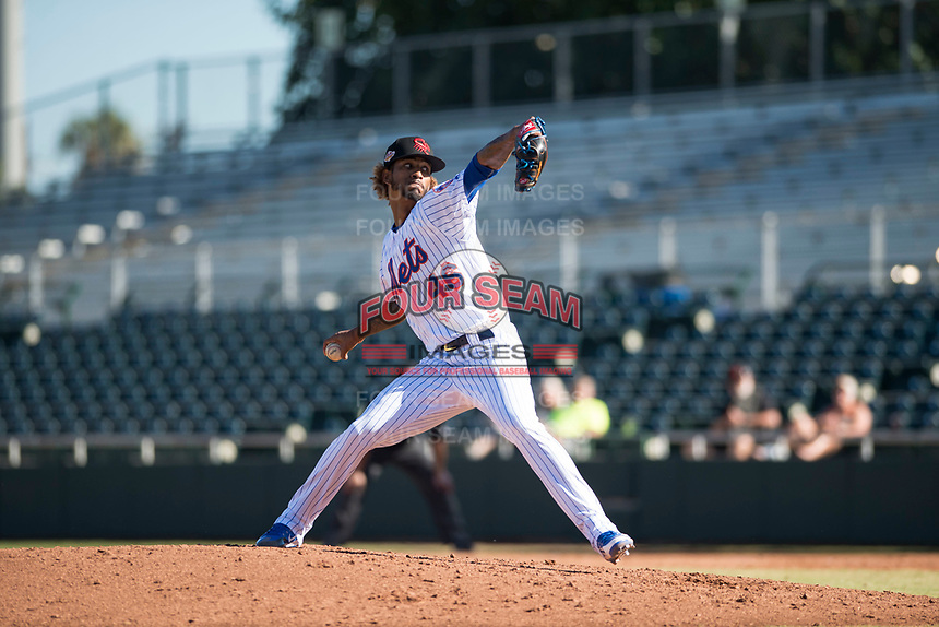 Scottsdale Scorpions relief pitcher Gerson Bautista (46), of the New York Mets organization, delivers a pitch during an Arizona Fall League game against the Mesa Solar Sox at Scottsdale Stadium on November 2, 2018 in Scottsdale, Arizona. The shortened seven-inning game ended in a 1-1 tie. (Zachary Lucy/Four Seam Images)
