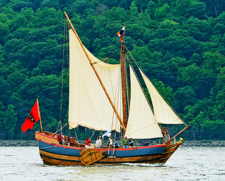 A replica of the Onrust, a 17th century Dutch ship, seen sailing up the Hudson River on the 400th anniversary of Henry Hudson's voyage of discovery