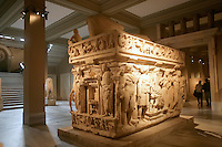 The Archaeological Museum in Istanbul, Turkey: the Sidamara Sarcophagus from Ambararasi (Konya), Roman period, 2nd half of 3rd century AD