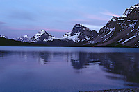 Bow Lake, Banff National Park, Alberta, Canada.  Summer sunset.