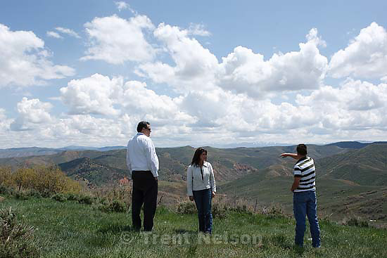 Near Henefer - (left to right) John Bennett (Utah Quality Growth Commission), Wendy Fisher (Utah Open Lands) and Kaden Vernon overlooking Franklin's Canyon near Henefer, some of the 2800 acres being preserved with a conservation easement Tuesday May 26, 2009