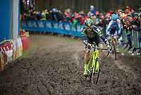 Sven Nys (BEL/Crelan-AAdrinks) dancing over the mud-section<br /> <br /> 2016 Belgian National CX Championships