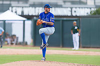 Team Italy relief pitcher Claudio Scotti (44) delivers a pitch during an exhibition game against the Oakland Athletics at Lew Wolff Training Complex on October 3, 2018 in Mesa, Arizona. (Zachary Lucy/Four Seam Images)