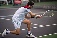 SHANGHAI - OCTOBER 6: Cameron Norrie of Great Britain in action against Ramkumar Ramanathan of India in qualifying for the Rolex Shanghai Masters at Qi Zhong Tennis Centre on October 6, 2018 in Shanghai, China