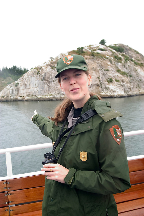 Alaska, Glacier Bay National Park..Ranger Laura Congdon..Cruise on Spirit of Discovery. Model Released..Photo copyright Lee Foster, 510/549-2202, lee@fostertravel.com, www.fostertravel.com..