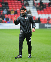 Lincoln City manager Danny Cowley during the pre-match warm-up<br /> <br /> Photographer Andrew Vaughan/CameraSport<br /> <br /> Emirates FA Cup First Round - Lincoln City v Northampton Town - Saturday 10th November 2018 - Sincil Bank - Lincoln<br />  <br /> World Copyright © 2018 CameraSport. All rights reserved. 43 Linden Ave. Countesthorpe. Leicester. England. LE8 5PG - Tel: +44 (0) 116 277 4147 - admin@camerasport.com - www.camerasport.com